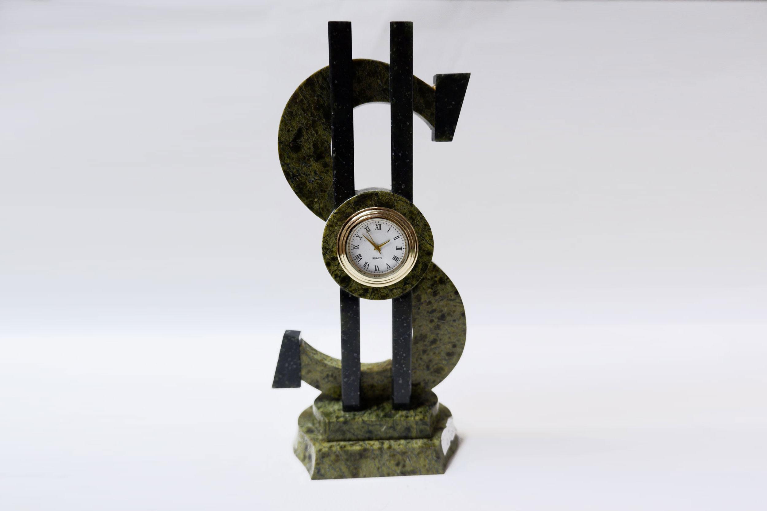 """Часы из змеевика """"Доллар"""""""