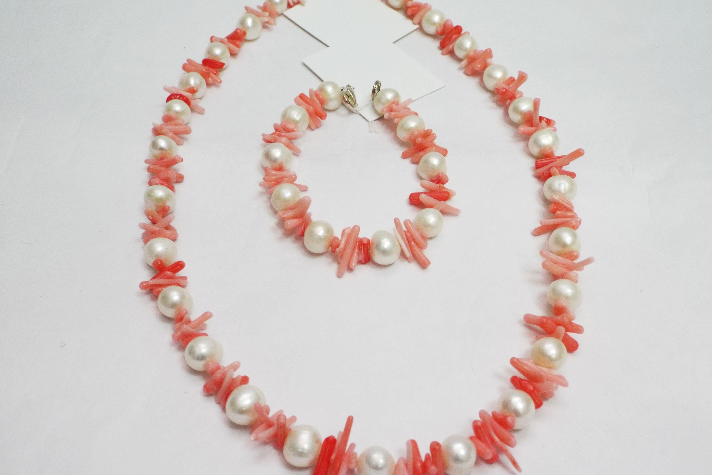 Бусы и браслет из коралла и жемчуга