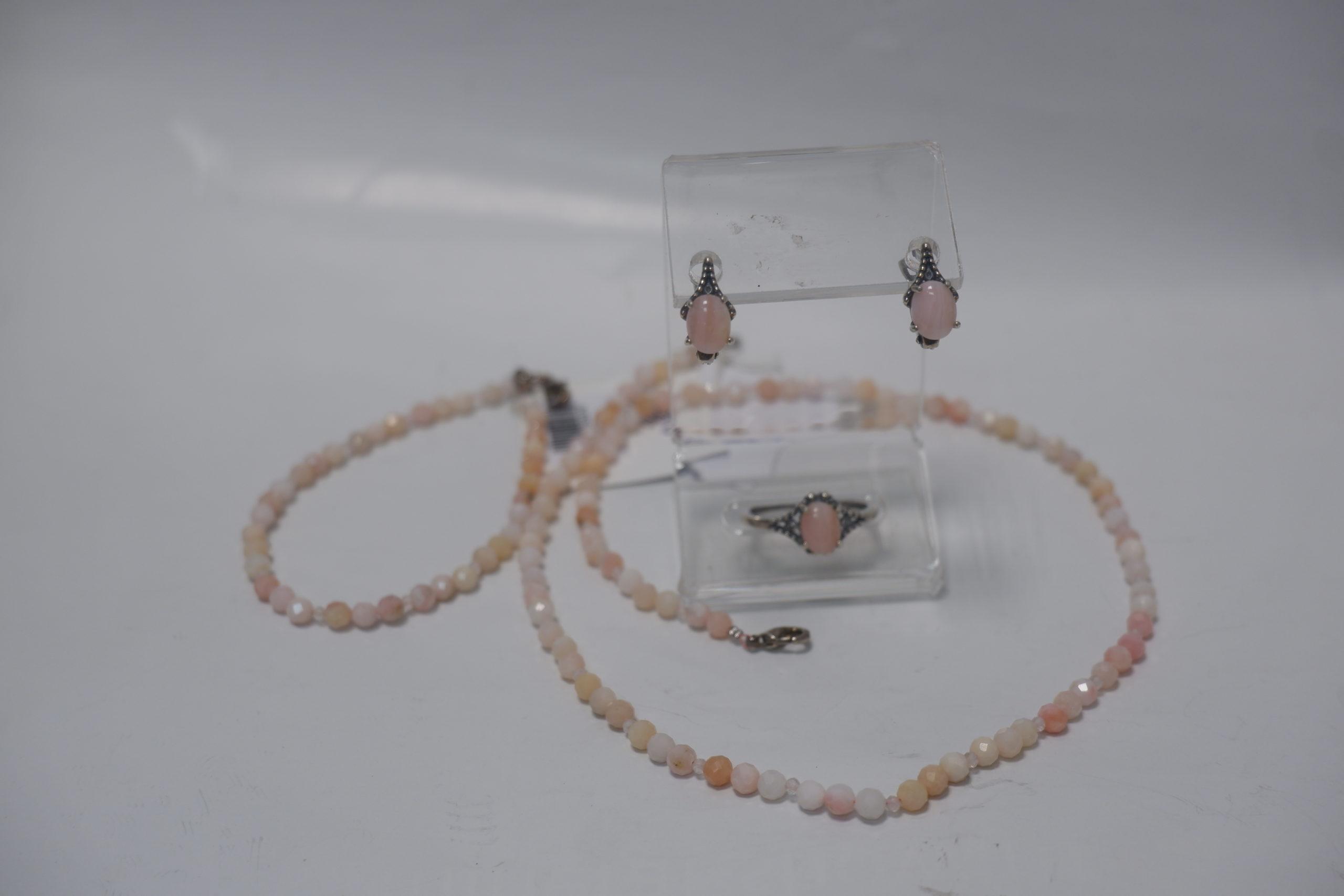 Бусы , браслет и гарнитур из розового опала