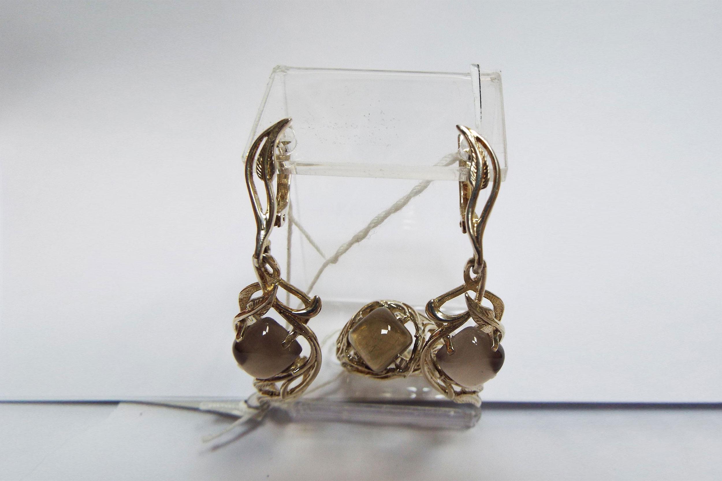 Серьги и кольцо из дымчатого кварца