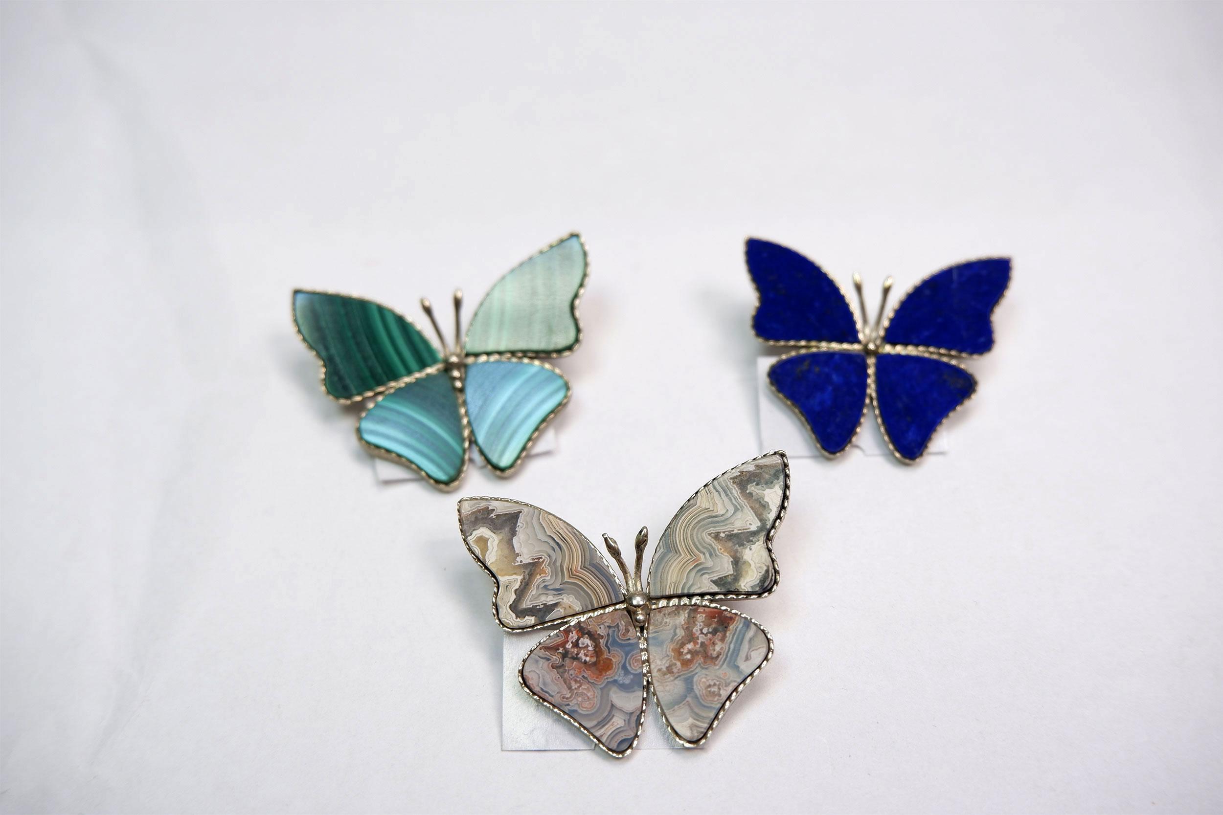 Броши бабочки из малахита и лазурита