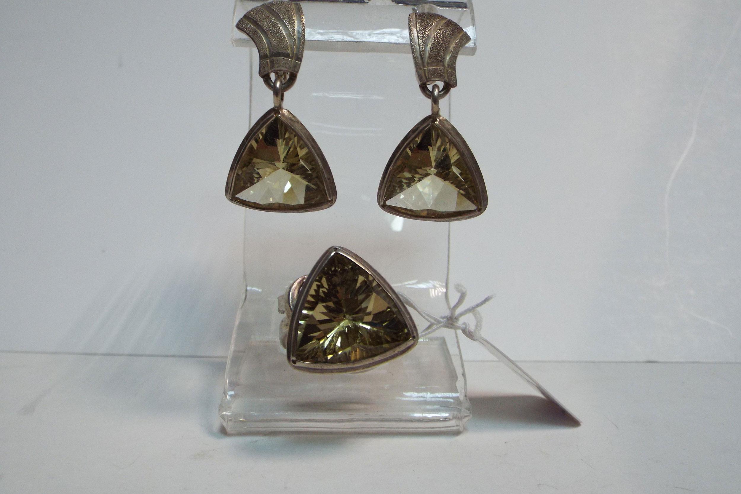 Серьги и кольцо из цитрина