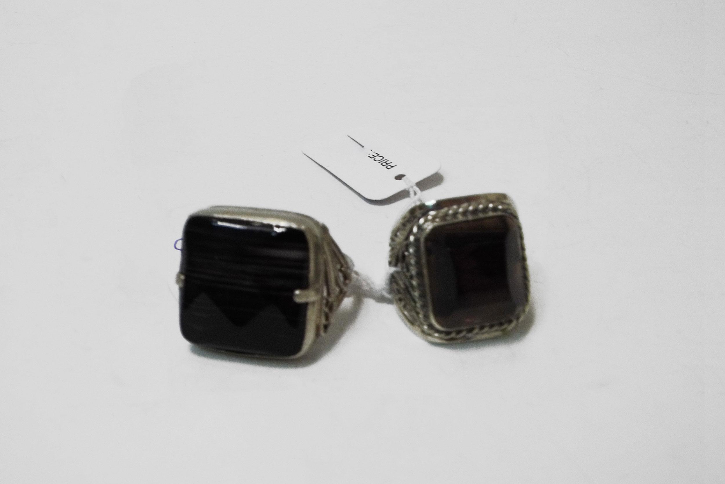 Кольца из черного агата