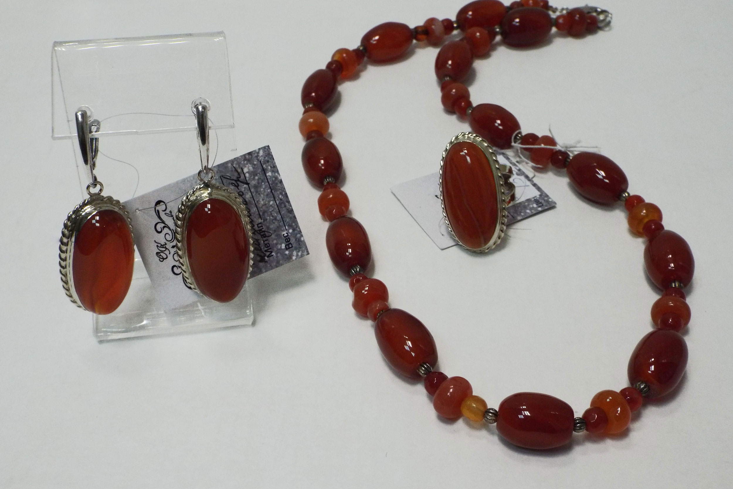Серьги, кольцо и бусы из сердолика