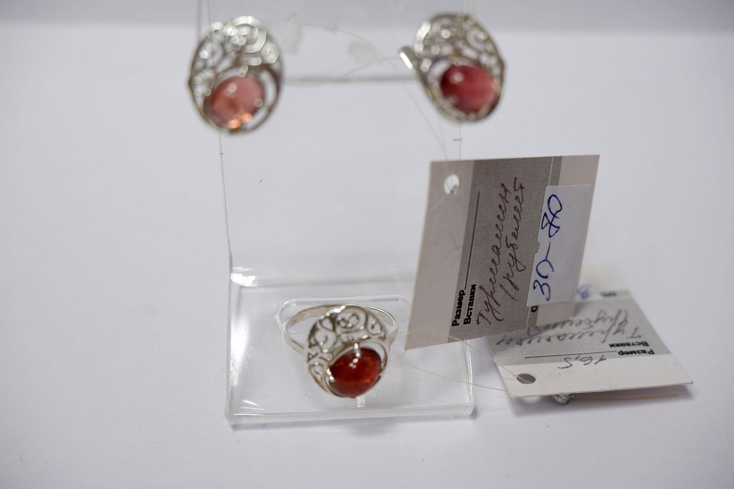 Серьги и кольцо из турмалина (рубелит)