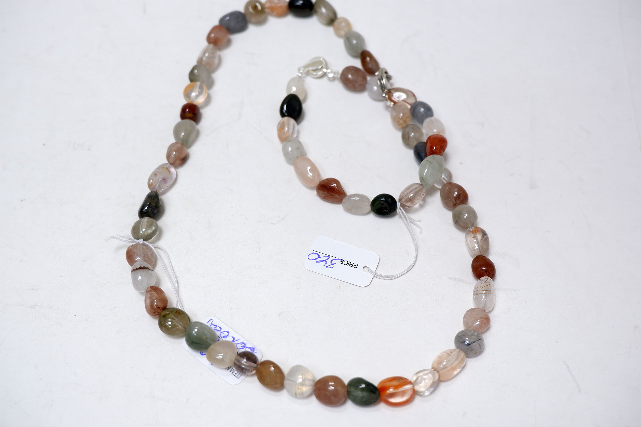 Бусы и браслет из кварца-волосатика (галтовка)