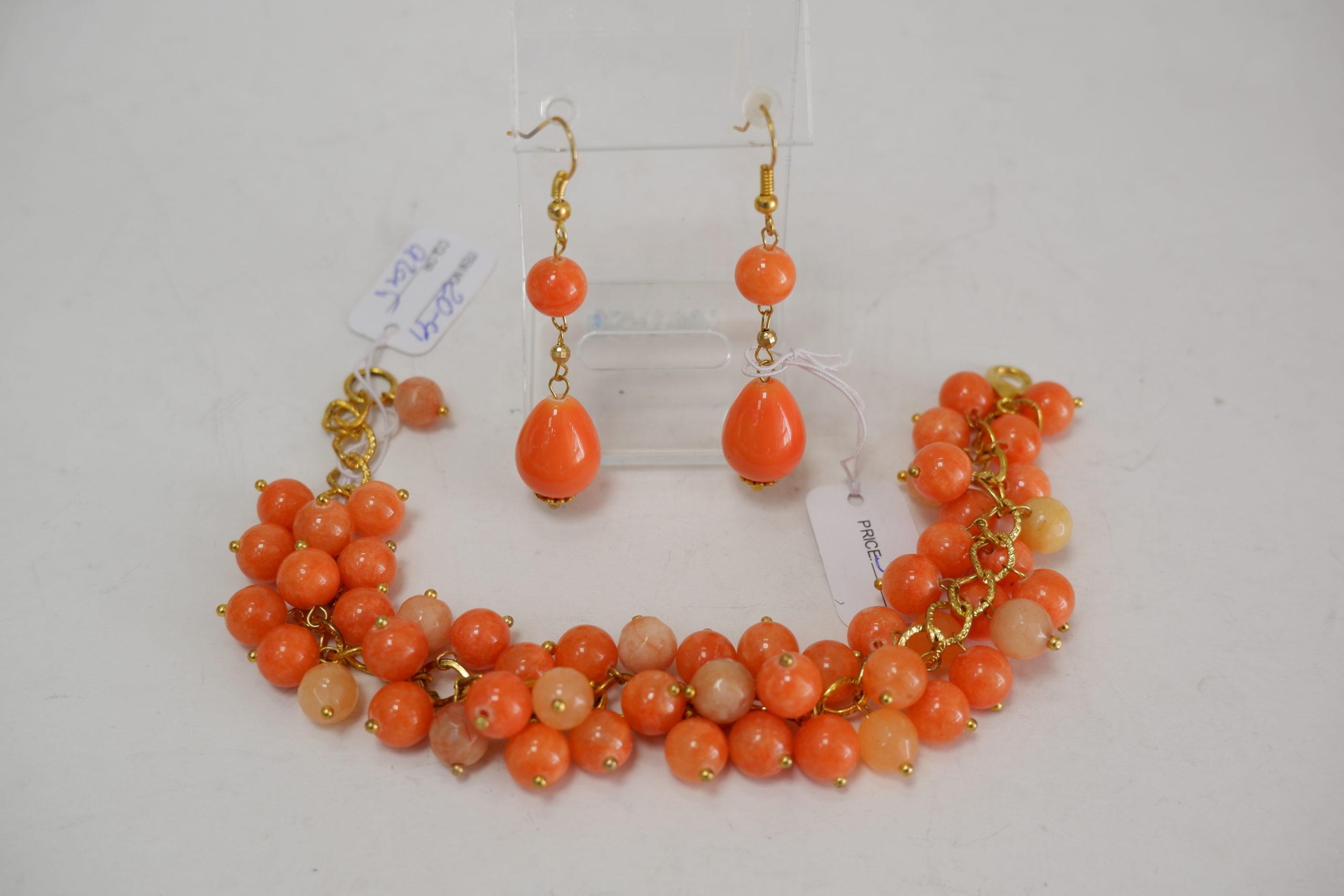 Браслет из агата оранжевый на цепочке и серьги