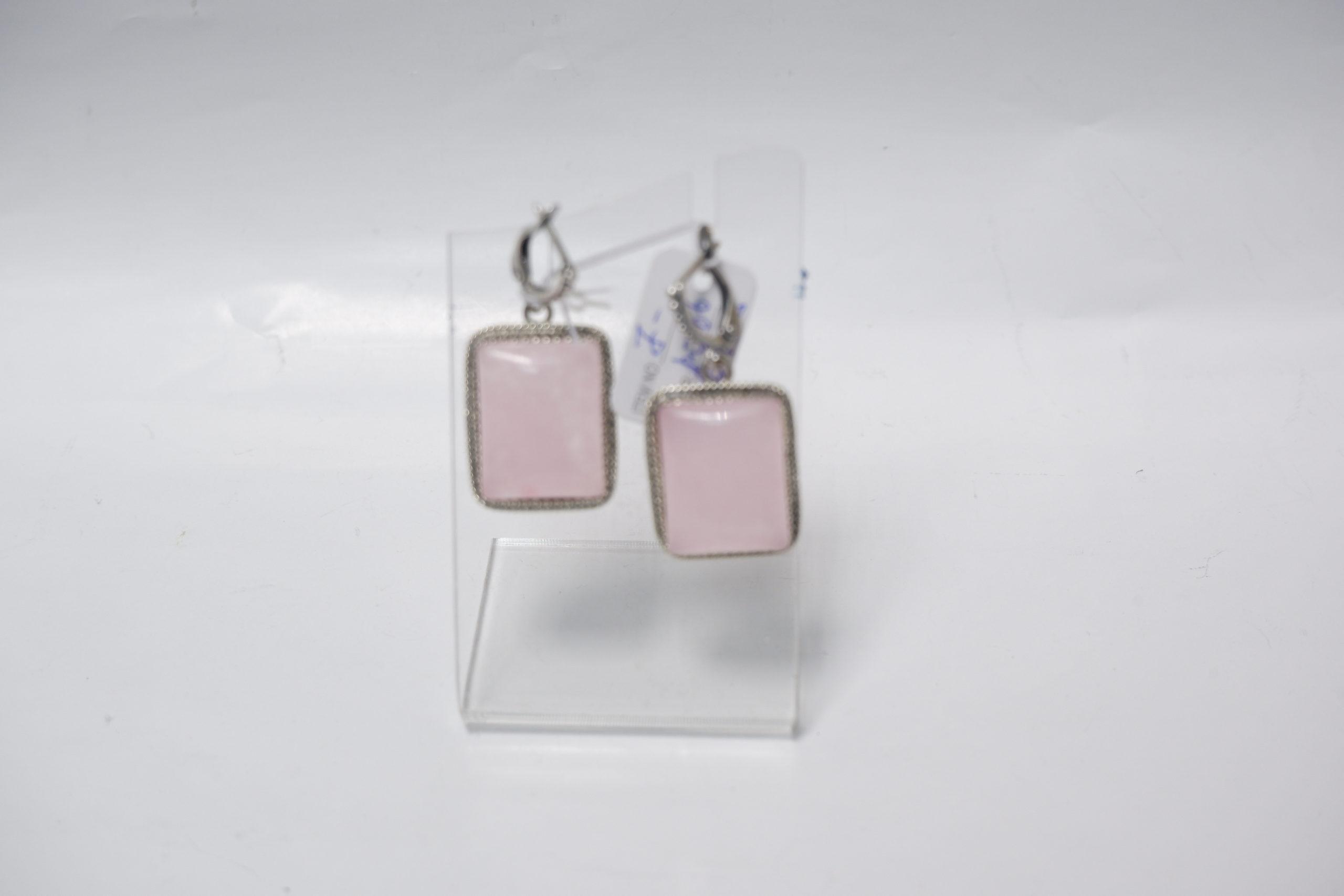 Серьги из розового кварца