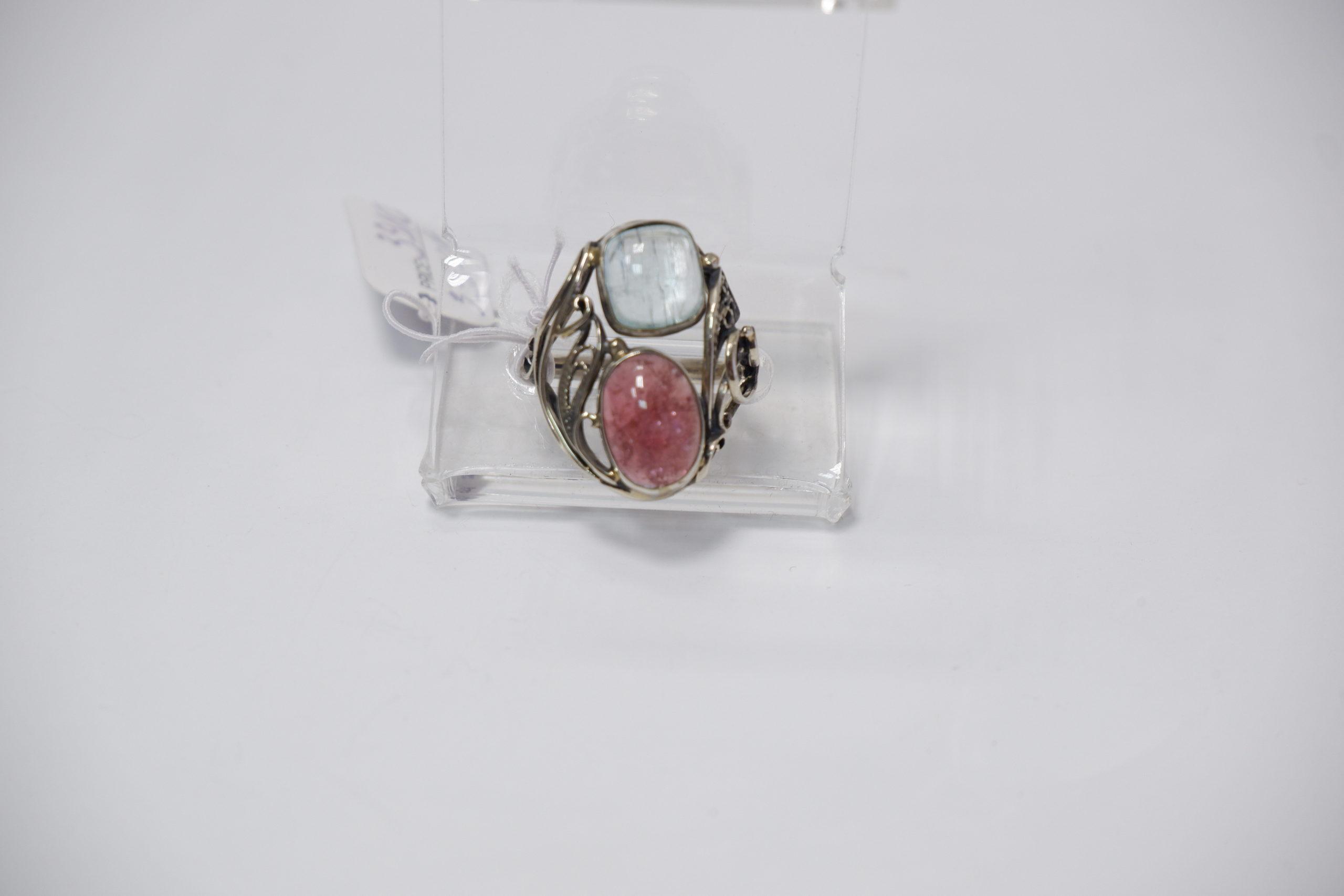 Кольцо из аквамарина и турмалина