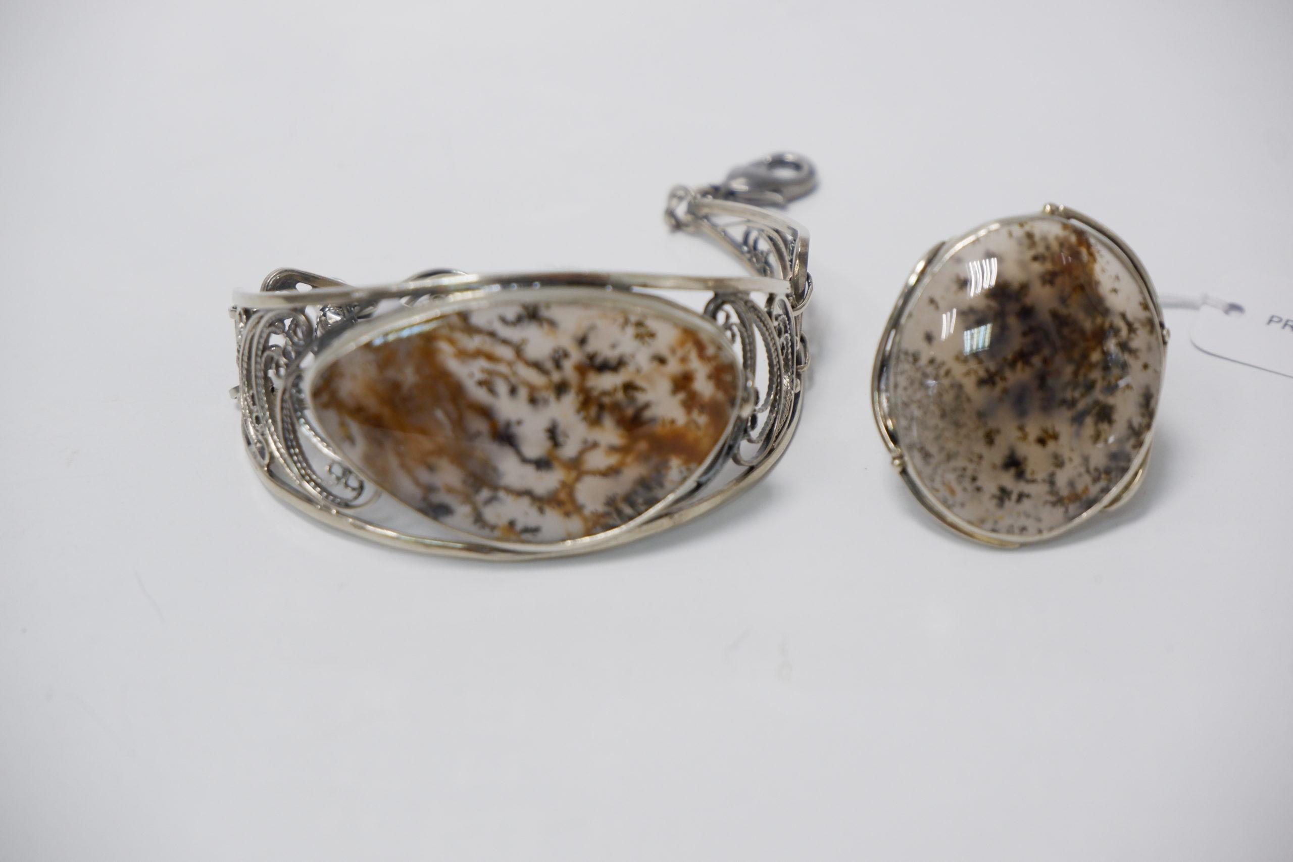 Браслет и кольцо из мохового агата
