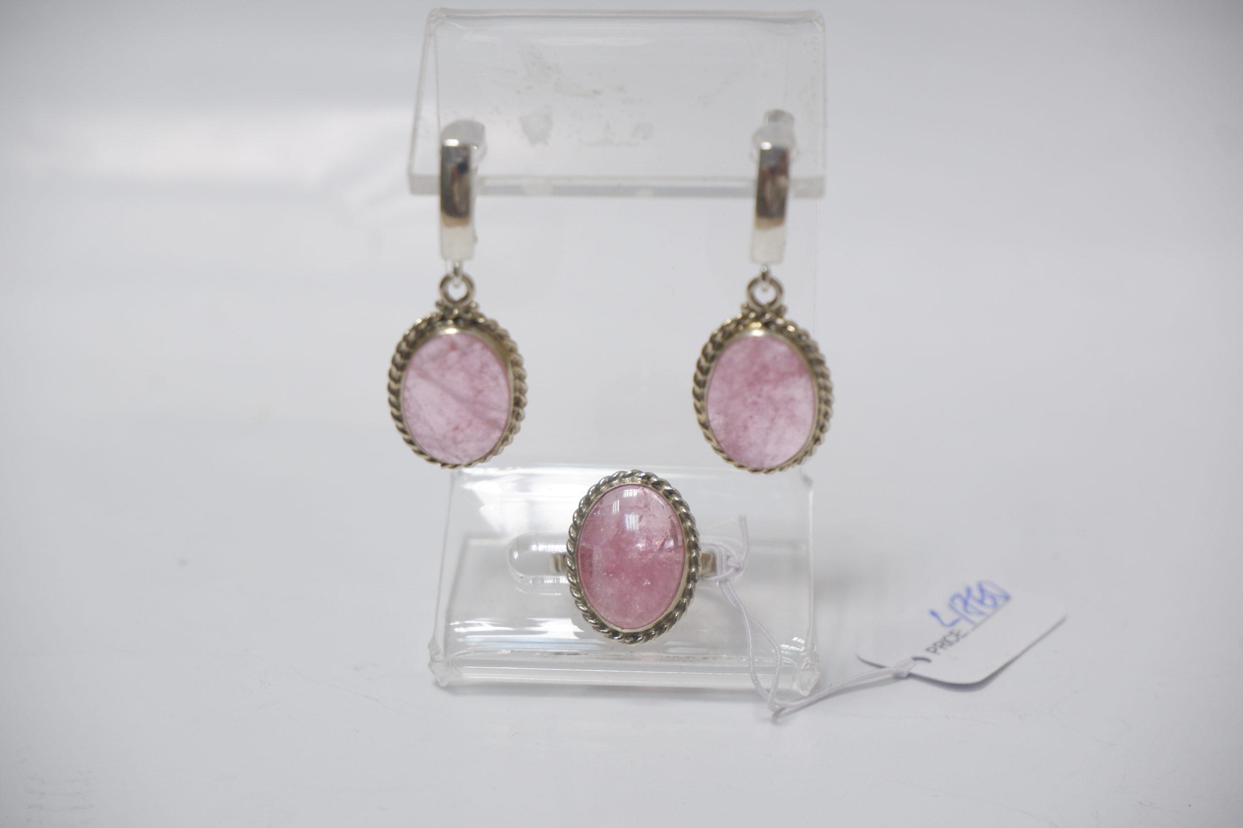 Гарнитур из розового турмалина